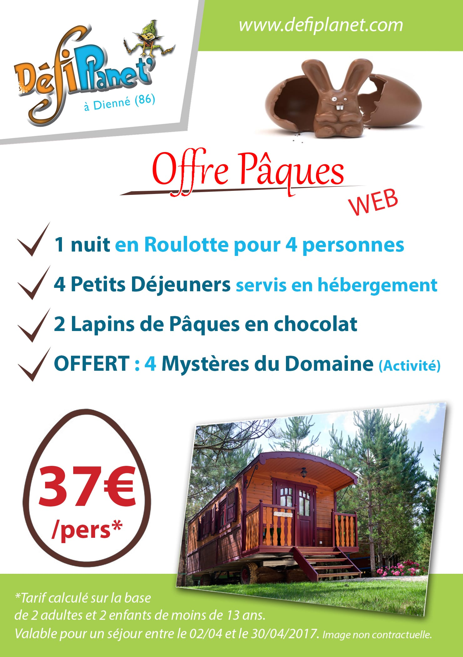 Paques offre hebergement Roulotte