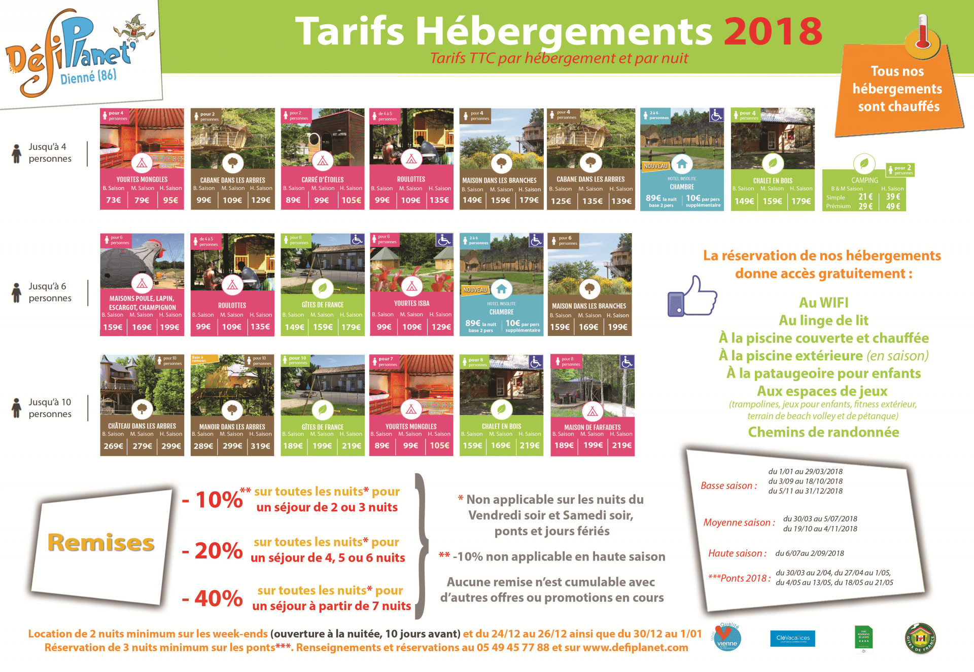 tarifs heb, hotel camping 2018