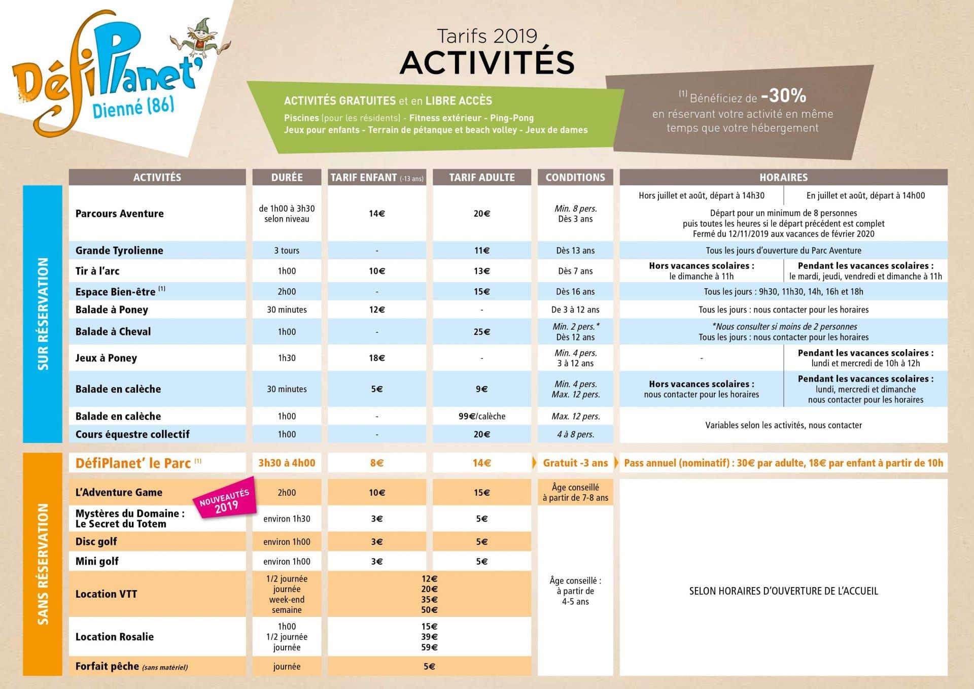 Tarifs activités 2019