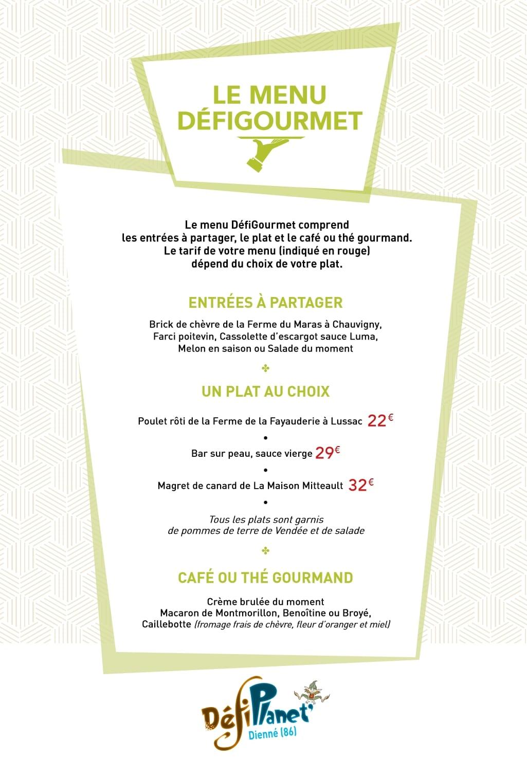 Chaudron menu gournet