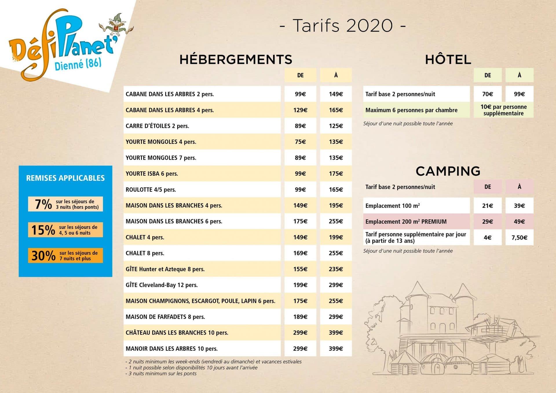 Tarifs hébergements 2020
